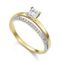 Anel Ouro Amarelo e Diamantes Pavê