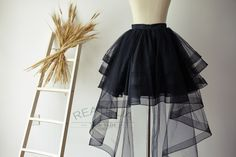 Black Horsehair Women Tulle Skirt Hi Low Asymmetrical by reathua