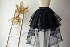 Black Horsehair Women Tulle Skirt Hi Low Asymmetrical by reathua