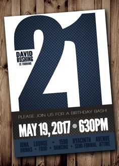 21ST BIRTHDAY Party Invitation for Man Male  by ScriptureWallArt, $10.20