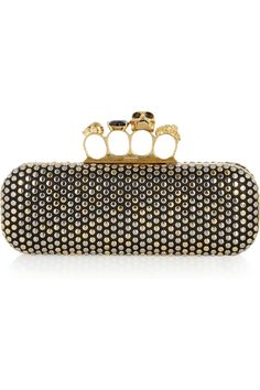 Alexander McQueen swarovski crystal-studded skull leather knuckle box clutch