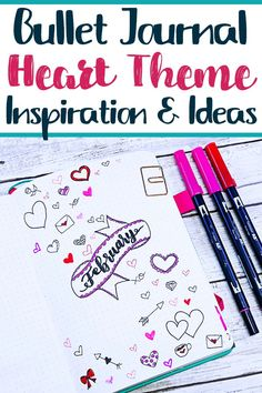Create a beautiful heart themed setup for your next bullet journal theme. Learn how to draw hearts, heart doodles, and other fun ways to put love back in your bujo spreads. #bulletjournal #heart #doodle #heartdoodles #howtodraw #howtodrawaheart #plannerdoodles