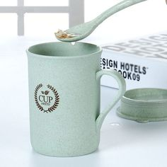 FHEAL Eco Stylish Coffee Mugs Tea Cup Wheat Straw Round Plastic Tumblers Cup Mugs Home Office Tableware Tools