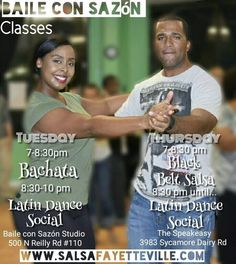 #ILoveSalsa #LatinDance #BachataFayetteville Learn something new and fun!  Tues - Bachata 7 PM Latin Dance Social 8:30 PM Wed - Dance Team Practice 8:30 PM Thur - Black Belt Salsa at 3983 @ The Speakeasy Sycamore Dairy Rd 7 PM Latin Dance Social 8:30 PM Coming soon - Tango! Private Lessons - By Appointment 500 N Reilly Rd #110 Fayetteville NC http://salsanc.com/1Olwz3Y