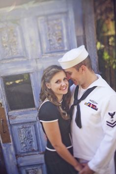 Our navy sailor themed engagement photos by Chintomby Chintomby Kathleen photography Military Couples, Military Love, Military Photos, Navy Engagement Photos, Engagement Shoots, Navy Girlfriend, Navy Wife, Couple Photography, Themed Photography