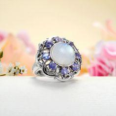 Indigo Blue Iolite Rainbow Moonstone Ring