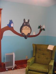 cute totoro wall painting :D Totoro Nursery, Totoro Bedroom, Creation Deco, My Neighbor Totoro, Hayao Miyazaki, My New Room, Future Baby, Decoration, Baby Room