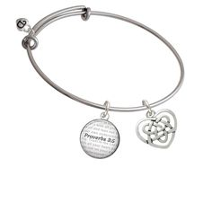 Celtic Knot Heart - Bible Verse Proverbs 3:5 Glass Dome Bangle Bracelet -- Read more reviews of the product by visiting the link on the image.-It is an affiliate link to Amazon.