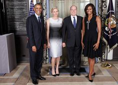 Noblesse et Royautés: Princes Charlene and Prince Albert of Monaco are greeted by President Barack Obama and First Lady Michelle Obama of the United States during a reception for Heads of State and Government attending the United Nations 69th General Assembly, New York City, September 23, 2014