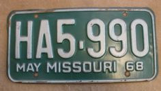 1968 Missouri License Plate - HA5-990