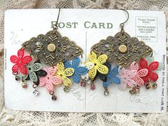 kitschy floral earrings whimsical assemblage by lilyofthevally