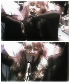 two photos of Stevie belting out her iconic song, 'Rhiannon' ♫♥❤♥♫ https://youtu.be/py3w5fttedA?list=PL93D31786648F2496