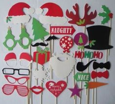 28PCS Photo Booth Props Accessories Glass Cap Moustache Lips With Stick For Wedding Birthday Party / Christmas Photo Booth Props Attached to the Sticks, Christmas Gifts, Photo Masks / Christmas Favors Tree Gift Star Heart Die Cut with Sticks and Glue - 28 Colorful Photo Props Christmas Theme Attached to the Sticks – No mess, no Stress Great addition any party for fun memories Good for kids and adults  Color of pictures may varies by different monitor setting. All pictur