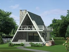 Grantview A-Frame Home Front of Home from houseplansandmore.com. Goes with floor plans #1 and #2.