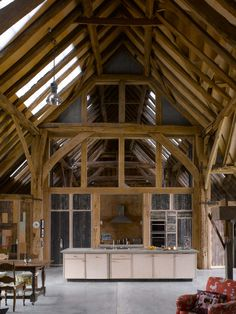 Feering Bury Farm Barn : Eclectic style kitchen by Hudson Architects Loft, Sussex Barn, Barn Shop, 21st Century Homes, Converted Barn, Long House, Barn Renovation, Timber Buildings, Eco Architecture