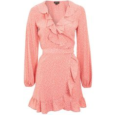 Topshop Spotted Ruffle Wrap Tea Dress ($55) ❤ liked on Polyvore featuring dresses, pink, pink dress, pink wrap dress, red party dresses, red print dress and polka dot dress
