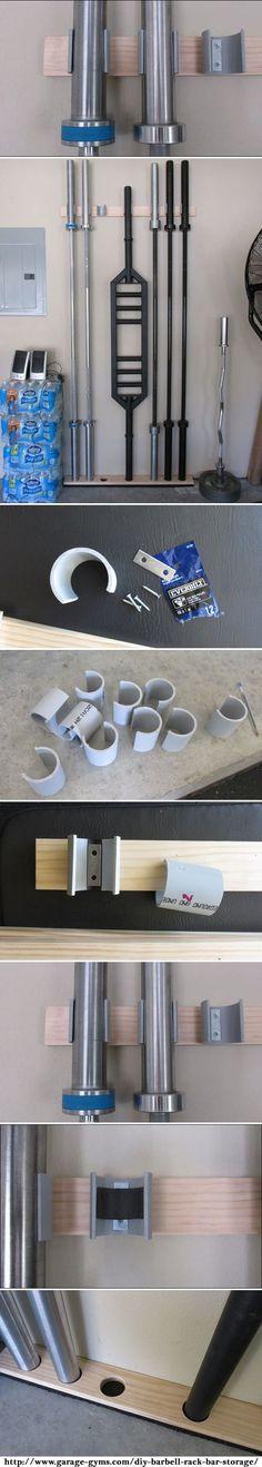 Space Saving DIY Barbell Rack / Bar Storage