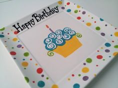 Hand Painted Ceramic Birthday Plate. $20.00, via Etsy.