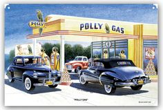 Polly Gas Service Station, Classic Cars, by Jack Schmitt, Metal Sign, Nostalgic Gas Oil Garage Art, FREE Shipping JS-11 by HomeDecorGarageArt on Etsy