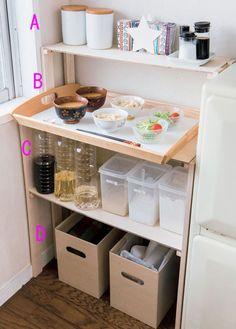 使用頻度の高いものは手に取りやすい位置をキープ Kitchen Cart, Kitchen Decor, Home Organization, Minimalist, Interior, Room, Furniture, Yahoo, Home Decor