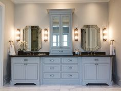 Projects | Village Cupboards Master bathroom vanities (paint grade). It looks gray but is actually painted white.