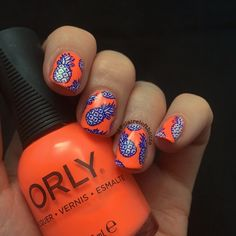 """637 Likes, 22 Comments - Claire Lofthouse (@clairelofthouse) on Instagram: """"Day 4 #randomnailartjune pineapples reverse stamping with @topatopa_fr TP-08 using @orlynails…"""""""