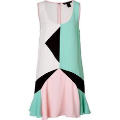 Marc by Marc Jacobs Colorblock Dress featuring polyvore, fashion, clothing, dresses, multicolor, sleeveless flare dress, retro-style dresses, colorful dresses, print dress and color block dress