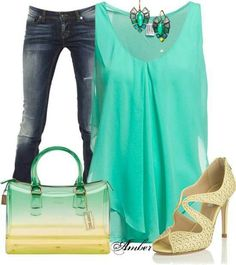 Flowy turquoise and jeans smart casual outfit