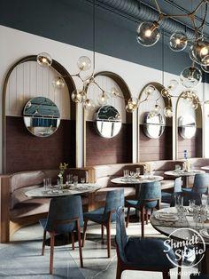 Super Ideas For Modern Banquette Seating Restaurant Interior Design Interior Modern, Interior Design Minimalist, Restaurant Interior Design, Design Hotel, Interior Architecture, Studio Interior, Resturant Interior, Bistro Interior, Restaurant Kitchen Design