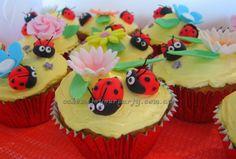 Ladybird garden party cupcakes