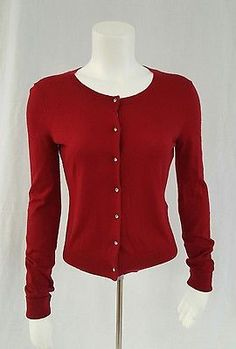 Express Sweater Small Red Cardigan Jeweled Buttons Knit Long Sleeve Lightweight