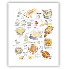 Pasta chart 8X10 print Watercolor illustration by lucileskitchen