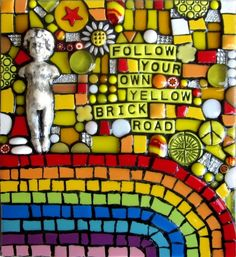 FOLLOW YOUR OWN YELLOW BRICK ROAD!  high gloss resin covered handmade mixed media mosaic wizard of oz follow your arrow art