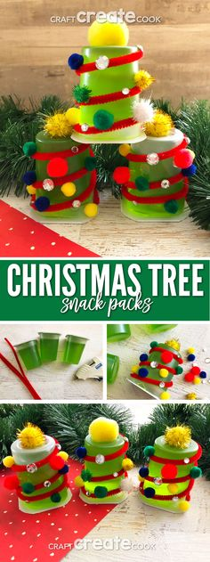 Our Christmas Tree Snacks for Kids are easy to make and perfect for a last minute Christmas treat. via @CraftCreatCook1