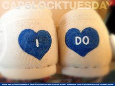 'I Do' HAND PAINTED TOMS - Perfect to wear for your Wedding, Bridal Shower, Honeymoon, Anniversary, Reception... by CAPSLOCKTUESDAY.etsy.com, $100.00 - the ORIGINAL designer of Just Married Toms! :)