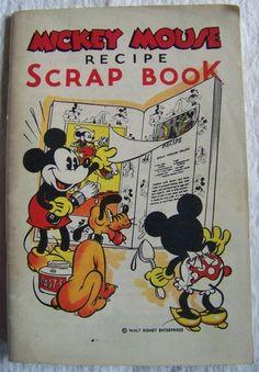 Vintage 1930s Mickey Mouse Recipe Scrap Book Bake Rite Bakery Portland Cookbook #Mickey_Mouse #Disney