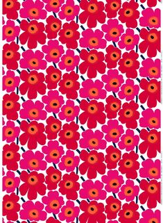 Revel In Color. The Pieni Unikko print of medium-sized flowers brightens up any room; use it for a duvet cover, tablecloth or set of curtains. The cotton Pieni Unikko print isn't limited to static creations, it also makes go Marimekko Wallpaper, Marimekko Fabric, Pattern Wallpaper, Print Wallpaper, Motifs Textiles, Textile Patterns, Print Patterns, Floral Patterns, Surface Pattern Design