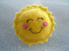 Felt Sun Brooch - Kawaii Pin Accessory, but could make an amazing rattle