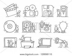 Electronic icons set of sketch working little people with computer camera. Doodle cute miniature scenes of workers with gadgets. Hand drawn cartoon vector illustration for business design and infographic. Stock Vector & Stock Photos   Bigstock