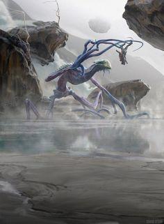 Murk Strider MtG Art from Battle for Zendikar Set by Chase Stone Dark Fantasy Art, Fantasy Artwork, Alien Creatures, Fantasy Creatures, Mythical Creatures, Fantasy Monster, Monster Art, Creature Concept Art, Creature Design