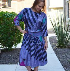 80s Purple Dress Midi Dress Smocked Waist Printed by WishfulAmy