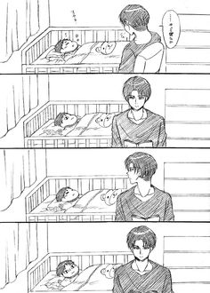 Lol Eren is me when my momom forces me to sleep Attack On Titan Comic, Attack On Titan Fanart, Attack On Titan Ships, Ereri, Levihan, Eren Y Levi, Eren X Mikasa, Anime Bebe, Loki Drawing