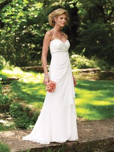 Informal wedding dress.  Lady looks angry but dress is cute.