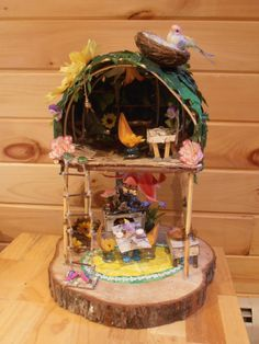 Fairy House Flower and Birch Handmade Fairy by JennuineExpressions, $110.00