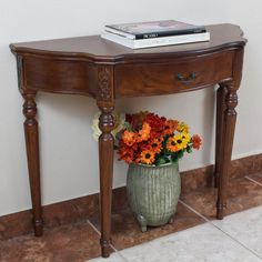 : inches long x inches deep x International Caravan Shangri-La Dao Hand-carved Wood Half Moon Table Half Moon Console Table, Half Moon Table, Half Table, Wall Dining Table, Sofa End Tables, Foyer Decorating, Decorating Ideas, Furniture Deals, Wooden Furniture