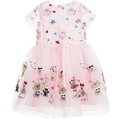 Simonetta Pink Organza & Tulle Dress with Teddy Bears at Childrensalon.com