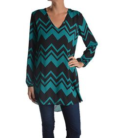 This Teal Chevron V-Neck Tunic is perfect! #zulilyfinds