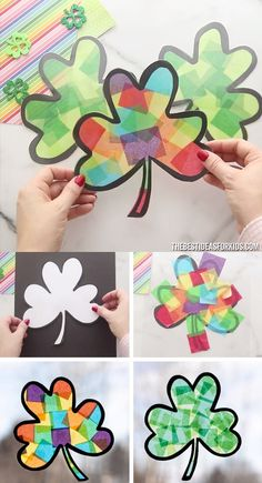 Shamrock Suncatcher ☘️ – an easy St Patrick's Day craft for kids. Make these shamrock suncatcher craft. Shamrock Suncatcher ☘️ – an easy St Patrick's Day craft for kids. Make these shamrock suncatcher craft. St Patricks Day Crafts For Kids, St Patrick's Day Crafts, Crafts For Kids To Make, Projects For Kids, Holiday Crafts, Kids Crafts, Art For Kids, Garden Projects, Kids Diy