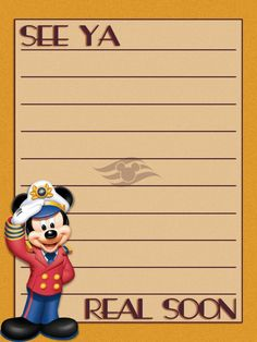 "Disney Cruise Line - See Ya Real Soon - Project Life Journal Card - Scrapbooking. ~~~~~~~~~ Size: 3x4"" @ 300 dpi. This card is **Personal use only - NOT for sale/resale** Logos/clipart belong to Disney. Font is Fashion Victim http://www.dafont.com/fashion-victim.font ***Click through to photobucket for more versions of this card :) ***"