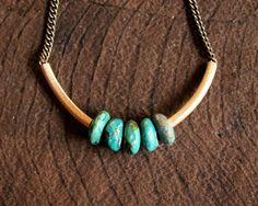 Turquoise Rondelle Necklace par nativeclutter sur Etsy, $24.00
